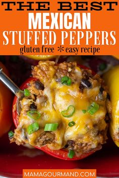 Change up taco night with this easy Mexican Stuffed Peppers recipe. Bell peppers are stuffed with a cheesy mixture of beef, rice, salsa, beans, and authentic Mexican spices for an all-in-one family dinner. Healthy Crockpot Recipes, Beef Recipes, Cooking Recipes, Freezer Recipes, Hamburger Recipes, Freezer Cooking, Recipies, Easy Weeknight Dinners, Quick Meals