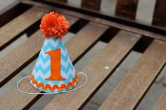 Custom First Birthday Hat Aqua Turquoise Chevron Orange 1st Birthday Outfit Toddler Baby Boy or Girl