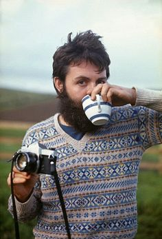 Paul McCartney in a great fairisle - beard,  mug, jumper camera.  Original hipster?