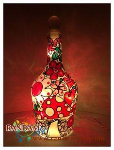 Hand Painted Tiffany Mosaic Style Lamp.  Wine Bottle by RandamArt