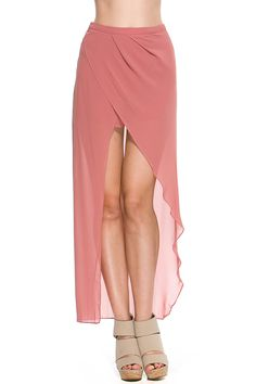 Foreign Exchange :: WOMEN :: BOTTOMS :: SKIRTS :: PINK HI-LOW MAXI SKIRT WITH SHORTS