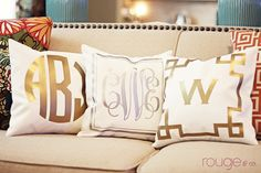METALLIC monogrammed pillow cover  - 14x14 - gold or silver - select monogram and border. $50.00, via Etsy.