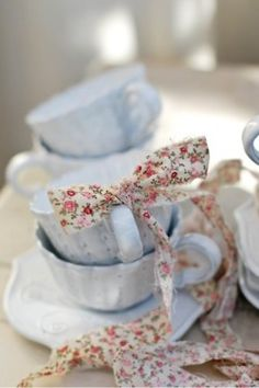 teacups and ribbons...so pretty for a shower or just a little girls tea party