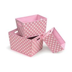 Too Cute for a baby girl's bedroom! Badger Basket 3 Pack Polka Dot Nesting Trapezoid Shape Folding Baskets