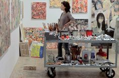 Cecily Brown in her studio, i love that trolley/table