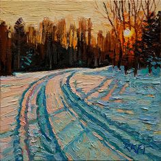Very nice! This one definitely captures a feeling - Ken Faulks : Snowy Drive - Very nice! This one definitely captures a feeling – Ken Faulks : Snowy Drive - Abstract Landscape, Landscape Paintings, Impressionist Paintings, Painting Inspiration, Art Inspo, Painting Snow, Painting Tips, Guache, Fine Art Gallery