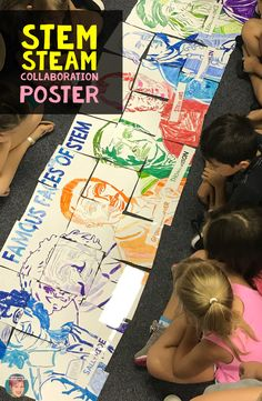 Use this Famous Faces of STEAM collaborative poster to focus any STEM or STEAM Activity in your classroom. This classroom collaborative poster is a great STEAM activity featuring Stem Projects, School Art Projects, Science Projects, Science Classroom, Art Classroom, Elementary Science, Classroom Displays, Steam Activities, High School Stem Activities