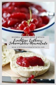 Super fruchtig und lecker, ganz einfach selbst gemacht: mein Rezept für leckere Johannisbeer-Erdbeer-Marmelade. Toller Aufstrich für Euer Frühstück, ganz blitzschnell selber gekocht! Marmelade, Fruchtaufstrich, Konfitüre, mit Johannisbeeren und Erdbeeren. #Marmelade #Erdbeeren #Johannisbeeren #schnell #einfach