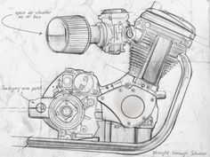 """Motor Sketch - Mac Motorcycles are powered by the Buell® single cylinder, air-cooled, 2-valve, push rod, 492cc, 5-speed 'Blast' engine. They're called """"thumpers"""" and with good reason, with one combustion for every 720° of crankshaft rotation when that cylinder fires, it's really an """"event""""."""