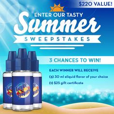 Enter our Tasty Summer Sweepstakes. Win 3x30ml eliquid flavor of your choice and $25 gift certificate. #vape #eliquid #ejuice #sweepstakes #giveaway
