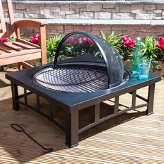 Fire Mountain Copper Effect Fire Pit with Square Table: Amazon.co.uk: Garden & Outdoors