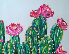 Items similar to Cactus Painting, Succulent Painting, Flower painting, Desert Floral on Etsy, painting&drawing Cactus Painting, Cactus Art, Cactus Flower, Painting & Drawing, Watercolor Paintings, Buy Cactus, Cactus Decor, Gouache Painting, House Painting