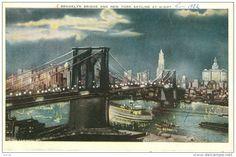 Brooklyn Bridge and New York City skyline at night.