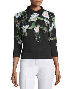 Ted Baker London Nellia Secret Trellis-Print Sweater, Black