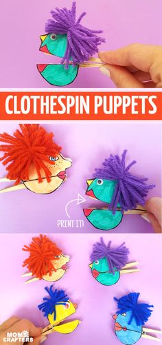 Click to print the free template and then make these adorable clothespin puppets! These are an amazing fine motor pincer grasp activity and craft for expression, moods and managing big emotions, a great literacy craft, and a great idea for learning music #finemotor #pincergrasp #papercraft #puppets