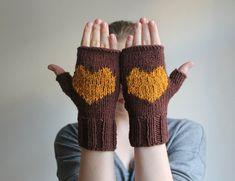 10 VALENTINES SALE...  Heart gloves brown gloves by beyazdukkan, $23.40