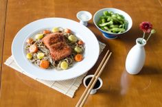 Salted Edamame – Teriyaki Salmon with Roasted Carrots, Parsnips & Lo Mein Noodles – Fortune Cookies & Clementines