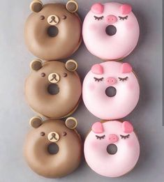Donuts are fried sweets made with flour, white sugar, butter and eggs. Donuts are one of the favorite foods of American nationals. Donuts are more welcomin Cute Donuts, Mini Donuts, Donuts Donuts, Doughnut, Baked Donuts, Delicious Donuts, Delicious Desserts, Yummy Food, Donut Recipes