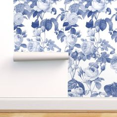 Spoonflower Peel and Stick Removable Wallpaper Blue Floral Shabby Chic Victorian Inspired English Cottage Large Print, 1ft x 2ft Test Swatch