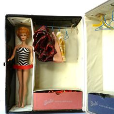 Vintage Barbie Trunk and Bubblecut Ginger Barbie by LaBrocanterie, $78.00