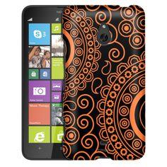 Nokia Lumia 1320 Paisley Circles Orange on Black Slim Case