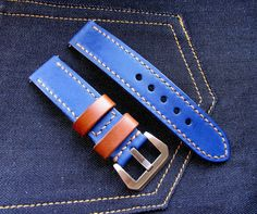 Navy blue leather handmade watch band 22 mm. от difues на Etsy