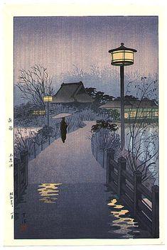 "Japanese Art Print ""Rainy Evening at Shinobazu Pond, Tokyo"" by Kasamatsu Shiro."
