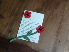 Ravelry: Project Gallery for 075 Poppy bookmark or decor pattern by LittleOwlsHut