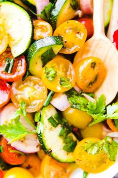 Three Herb Tomato Zucchini Salad is a healthy marinated vegetable salad - one of the BEST zucchini and tomato recipes! Paleo, Vegan and friendly! Easy Zucchini Recipes, Vegan Dinner Recipes, Dinner Recipes For Kids, Delicious Vegan Recipes, Paleo Vegan, Whole30 Recipes, Vegetarian, Chopped Salad Recipes, Healthy Salad Recipes