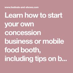 How to start your own concession stand business or mobile food booth! Tips on buying a concession trailer, food equipment, licenses, permits, and insurance. Food Equipment, Restaurant Equipment, Restaurant Bar, Concession Trailer, Food Trailer, Homeowners Insurance Coverage, Food Cart Design, Vendor Booth, Food Stands
