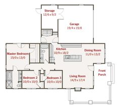 Craftsman Style House Plan - 3 Beds 2 Baths 1450 Sq/Ft Plan #461-1 Floor Plan…