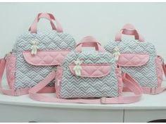 Kit bolsas de bebê Cinza Chevron e Rosa #Exclusivo Ateliê Baby e Cia