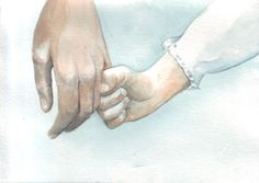 Original watercolor painting little girl hand holding by HelgaMcL http://etsy.me/W8uGgP $20.00