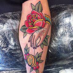 3d rose hand tattoo