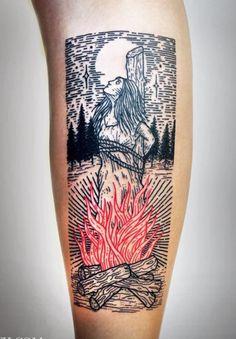 Made by Lisa Orth Tattoo Artists in California, US Region Pretty Tattoos, Beautiful Tattoos, Cool Tattoos, Tatoos, Burn Tattoo, Skin Deep Tattoo, Woodcut Tattoo, Occult Tattoo, Handpoked Tattoo