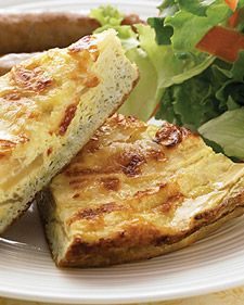 Apple and cheddar frittata ~ Pair this simple frittata with some cider-glazed sausage and a green salad, and you've got an easy midday menu that's sure to be a home run.