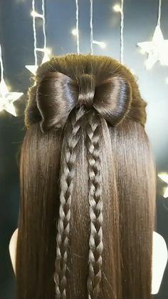 Front Hair Styles, Medium Hair Styles, Bun Hairstyles For Long Hair, Girl Hairstyles, Hair Tutorials For Medium Hair, Long Hair Video, Hair Videos, Hair Designs, Woodworking Shop
