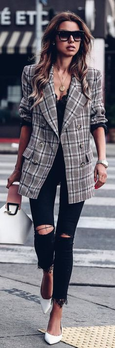#winter #outfits gray, white, and black plaid suit jacket with distressed black denim jeans outfit