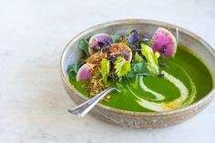 Ten Ingredient Alkalizing Green Soup from 101 Cookbooks - Ten ingredients in a blender and you've got a potent, alkalizing green soup - spinach, herbs, garlic, with silky coconut cream, and some green split peas for staying power.