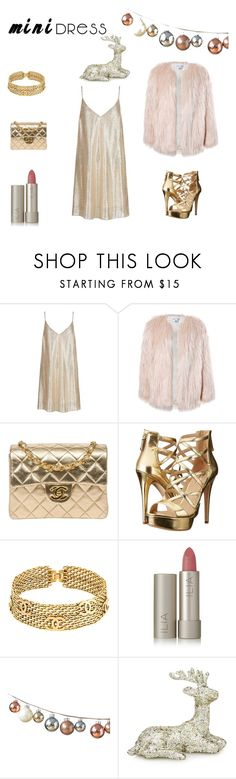 """Girly metallic Christmas night out!"" by hannahblooxo on Polyvore featuring New Look, Sans Souci, Chanel, GUESS and Ilia"