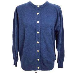 VTG Pendleton Classic 100% Virgin Wool Blue Cardigan Sweater Button Front Sz M  #Pendleton #Cardigan