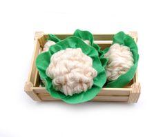 Soft Cauliflower Farmers Market Felt Textile Toy Vegetable Veggie For Kids Small Cook Seller Pretend Food White Cream Green Home Decor