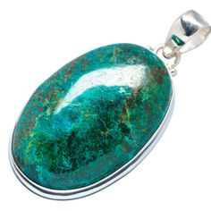 "Huge Chrysocolla 925 Sterling Silver Pendant 2"" PD534472"