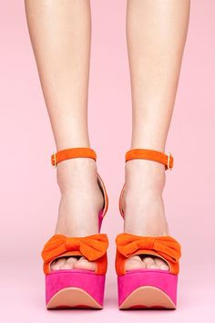 pink and orange bow heels