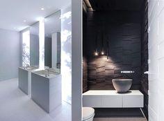 moderne und kreative lichtkonzepte fürs badezimmer_kleines bad ideen für moderne wandgestaltung mit modernen 3d Wandfliesen schwarz und moderne pendellampen schwarz für dezente beleuchtung im badezimmer