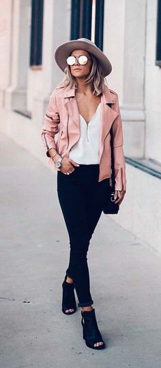 #blush #leather jacket black #skinny #jeans fedora street style #outfit