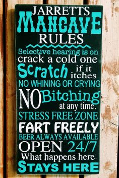 Man cave decor man cave rules Sign Personalized by MamaSaysSigns