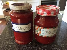 This is delicious, easy and great to have in the cupboard.  It is not blow your head off hot.  6 large red peppers, capsicums 12 red chillis 3 tbs fresh chopped ginger 8 cloves garlic 400 g tin crushed tomatoes 750 g white sugar 250 ml red wine vinegar  In a food processor finely chop the peppers, chillis, ginger and garlic.  Place them in a large heavy based pan, preferably a preserving pan.  Add the sugar, tomatoes and vinegar.  Bring to the boil.  Turn down the heat and simmer for 45… Chilli Jam, Red Peppers, Cupboard, Red Wine, A Food, Food To Make, Food Processor Recipes, Jar, Stuffed Peppers
