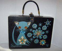 "1964 Enid Collins of Texas ""Sophistikit"" Original Wood Box Bag Purse #EnidCollins #BoxBag"