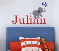 Children Wall Decal Baby Elephant with Name Vinyl decal. $34.00, via Etsy.